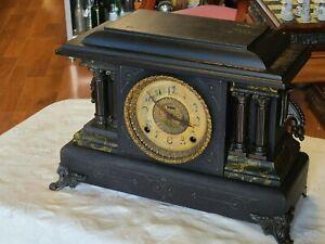 Antique Ingraham Black Columns Mantel Clock  ~Circa 1870-1900~  We Ship!