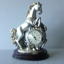 Vintage Horse Clock Sculpture Silver 925 Coated Statue made in Italy
