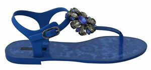 Dolce & Gabbana Shoes Women's Blue Crystal Sandals Flip Flops EU37/US6.5