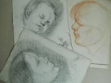 LOT 1901 esquisse Originale dessin au crayon sanguine portrait de profil enfant