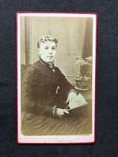 Victorian Carte De Visite CDV: Pimlico: London: Young Lady With Fan & Plant