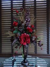 Floral Flower Arrangement Red Roses Purple Daisies & Delphiniums Brown Metal