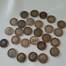 More details for 27 x silver 3d british coins