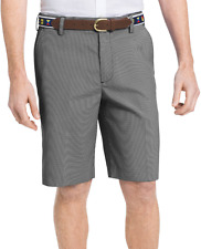 NEW IZOD THE DRIVER COOL & DRY FLAT FRONT NO WRINKLE WICKING BLACK PLAID SHORTS