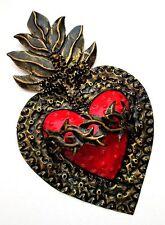 Mexican Tin Sacred Heart / Sagrado Corazon / Mexican Folk Art / Punched Tin