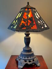 VTG EF EF INDUSTRIES Lamp with Stained Slag Glass 6-Panel Shade #338 From 1970