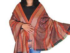 "Orange Beige Wool Embroidered Shawl Kashmir Evening Dress Wrap Winter Scarf 80"""
