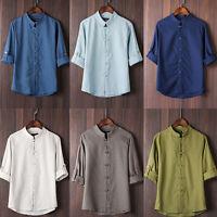 vintage Men Plain Hemp Tai Ji Shirt long Sleeved Tops Chinese button Tang Blouse
