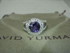 DAVID YURMAN ALBION AUTHENTIC 8MM AMETHYST DIAMOND RING  SIZE 7  D.Y. POUCH