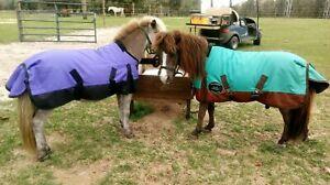 36 38 40 WATERPROOF Turnout Blanket SHEET Mini Horse Pony BLUE PURPLE RED TEAL