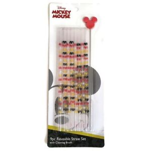 Disney Mickey Mouse 9 Piece Reusable Straw and Cleaning Brush Set