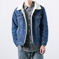 Mens Warm Sherpa Denim Jacket Retro Thermal Winter Coat Classic Padded Button