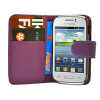 purpl WALLET Leather Case Phone Cover Samsung Galaxy Young GT S-S6310L GT S6310N
