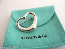 Tiffany & Co Silver Peretti Open Heart Brooch Pin Rare Classic with Pouch