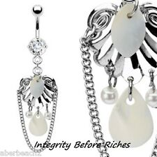 316L Surgical Steel Mother of Pearl/Shell/CZ Dangle Navel Belly Ring