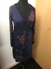 Mantaray Blue Stretchy Long Sleeved Midi Length Dress Size 16, Boho Hippy