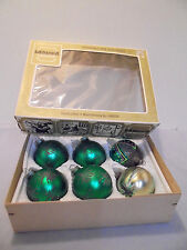 "New ListingChristmas Tree Glass Ornaments, Germany, 6 Green Glitter 1.75"" Across Vintage"