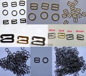 10pc Metal Lingerie Bra strap Adjustment Slide Rings Hook Figure 4color Pick 089
