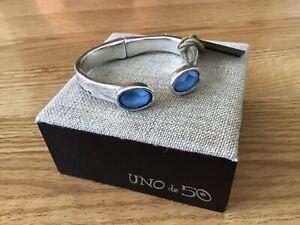 """NWT Uno de 50 Rigid Silver-plated Bracelet/2 Crystals """"Orion"""""""