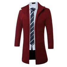 Men's Mid Length Woolen Jacket Single Breasted Stand collar Trench Coat Casual D