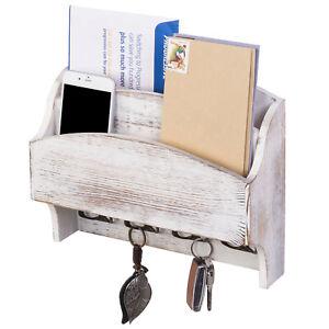 MyGift 2 Pocket Wall Mounted Shabby Whitewashed Wood Mail Sorter with Key Hooks