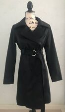 Mossimo Long Trench Coat Jacket Sz S black Shiny Satin Look Belted