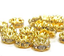 100 Metall Zwischenperlen Gold 6mm Rondell Glas Strass Spacer MODE R172E#3