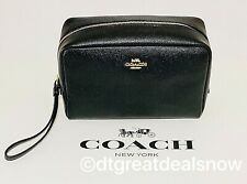 Coach Crossgrain Leather Black Cosmetic Bag 20 F24797