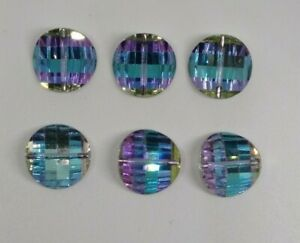 6pc Swarovski Crystal Wisteria 14mm Pagoda 5107 Beads; 3 Left & 3 Right; RARE