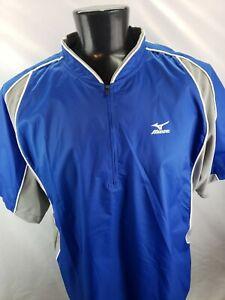 MIZUNO TEAMWEAR Mens 1/4 Zip Baseball Golf Vented Windbreaker Blue Gray Sz XL