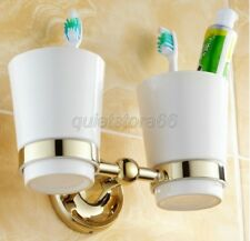 Gold Color Brass Double Tumbler Holder Toothbrush Cup Holder Wall Mounted qba239