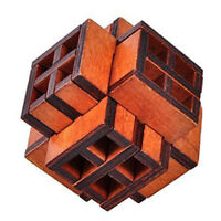 3D Wooden Window Cube Lock Burr Puzzle Brain Teaser Puzzles Removing Assemb Q7J3