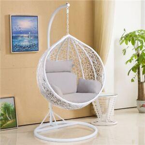 Rattan Swing Chair Garden Patio Hanging Hammock Indoor/Outdoor Egg Chair Used