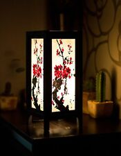 Asian Vintage Style Paper Bedside Table Lamp: Sakura Brush Japanese Plum Blossom