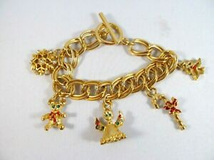 """Christmas Holiday double link charm Bracelet with 5 charms size 7-3/4th """" gifts"""