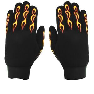 Yellow & Red Flame - 2XL Mechanic's Gloves