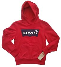 Levi's Kids Hooded Sweatshirt, Size S, M, Red, Long Sleeves Pull Over Hoodie