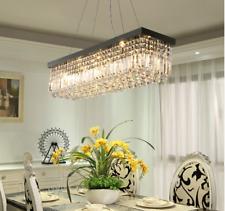 Modern Luxury K9 Crystal Rectangle Pendant Lamp Dining Chandelier Lighting 80CM