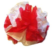 "25 Car Limo wedding Decoration Plastic Pom Poms Flower 4"" - red and white"