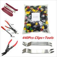 440Pcs Mixed Door Bumper Rivet Retainer Fastener Clips W/ 6Pcs Hand Remover Kit