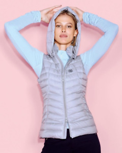 G/FORE Down Puffer Vest Jacket Removable Hood Pewter Gray NWT $295 Golf Tennis