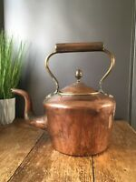 LOVELY ANTIQUE SOLID COPPER KETTLE / TEAPOT ACORN FINIAL FIRESIDE DISPLAY ITEM