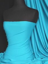 Turquoise Blue Cotton Lycra Jersey Stretch Fabric Q35 TQS
