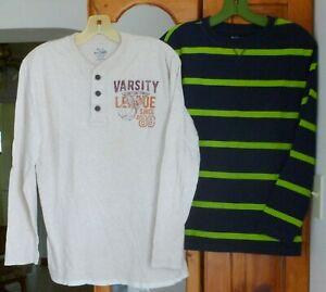 2 CHILDREN'S PLACE T-SHIRT LOT Graphic Henley & Navy Striped Green L/S Yth XL