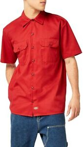 """Dickies Vintage Work Short Sleeve Button Down Shirt Red """"a legend in work"""""""