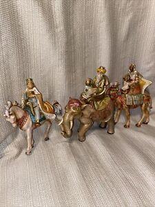 "3~Piece FONTANINI NATIVITY 7""Kings on Camels-One King On Elephant-Saddle Removes"