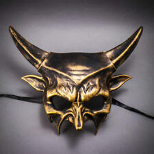 ILOVEMASKS Devil Demon with Horn Black Gold Masquerade Ball Costume Party Mask