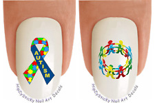 Nail Decals #6504 Autism Awareness Child Ring Ribbon Waterslide Nail Transfers