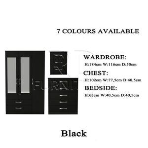 3 Door Wardrobe Bedroom Set - Black