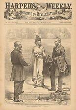 Political Cartoon, Greeting & Farewell, Hayse, Garfield, 1882 Antique Print